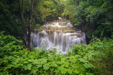 Huay Mae Kamin Waterfall, beautiful waterfall in autumn forest, Kanchanaburi province, Thailand Stock Photo