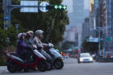 Taipei, Taiwan - 19 December 2016: People Morning City life in Taipei Editorial