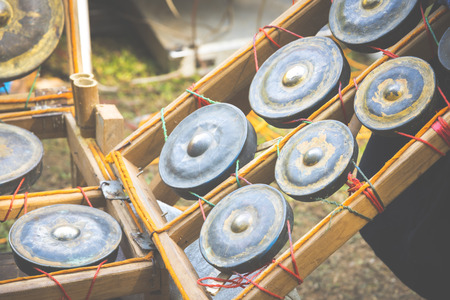 thai musical instrument: Native instruments of Myanmar, vintage filter image Stock Photo