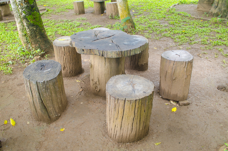 furniture part: stumps seats in the park, Garden furniture made from wooden log