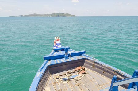 Ship Nose Front View Long tail boat at Phi Phi Islands sea Asia Thailand Stock Photo