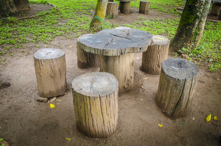 stumps seats in the park, Garden furniture made from wooden log