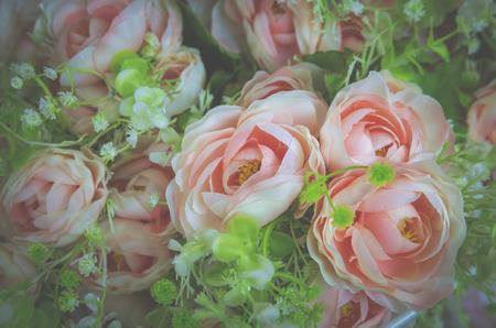 rose flower background for Valentines Day, vintage filter image