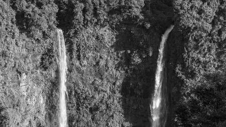 longest: black and white waterfalls longest in Laos Stock Photo