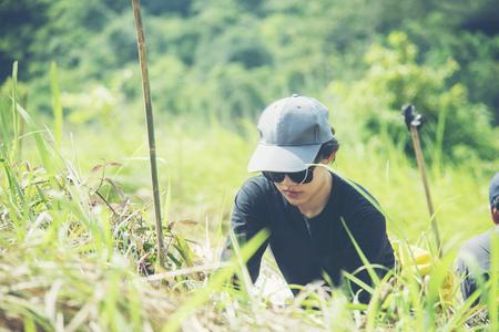 タイの国立公園、生態学的な森林再生を行うアジア女性