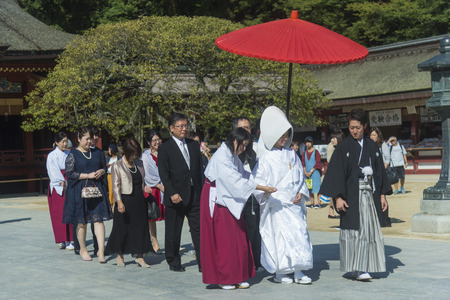 Japanese wedding conducted in a shrine complex in Fukuoka. Pic was taken in Oetober 2017. Editorial