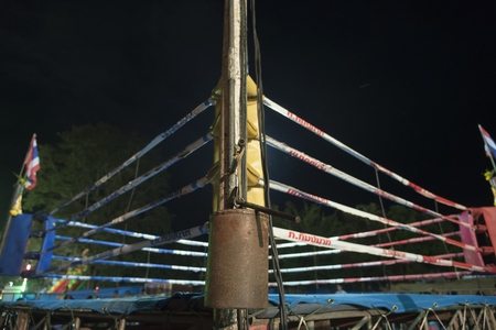 Bangkok, Thailand-October 14, 2017: Muay Thai Boxing Stadium setup in Traditional Thai temple in Bangkok, Thailand