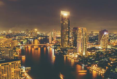 cityscape of Bangkok at night, Thailand