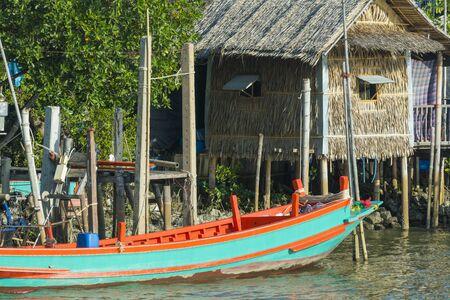Samutsakhon, Thailand-October 11, 2017: Coastal fishing boats in the seaside area of ??Thailand. in Samutsakhon, Thailand Editorial