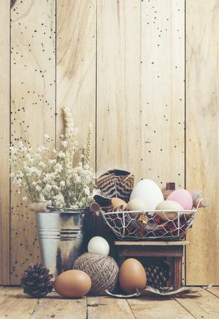 Ester background with colorful easter eggs, vintage filter image