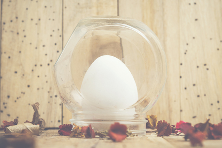 Cute creative photo with easter eggs, Ester background with colorful easter eggs, vintage filter image