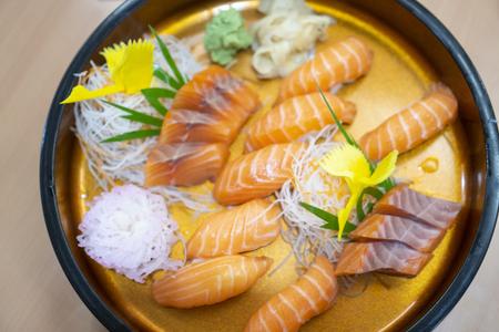 Sashimi salmon set, raw fish, japanese food.(Selective focus) Stok Fotoğraf