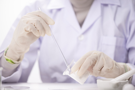 Healthcare creme production in laboratory. Creme products in lab. Healthcare industry.