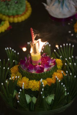 Loy Krathong festival, People buy flowers and candle to light and float on water to celebrate the Loy Krathong festival in Thailand.