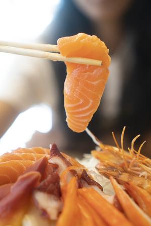 Sashimi, fresh seafood, Japanese food Stockfoto