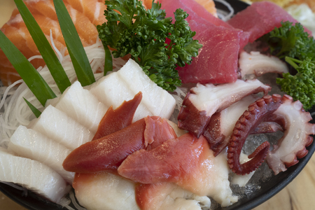 Sashimi, fresh seafood, Japanese food Stock Photo