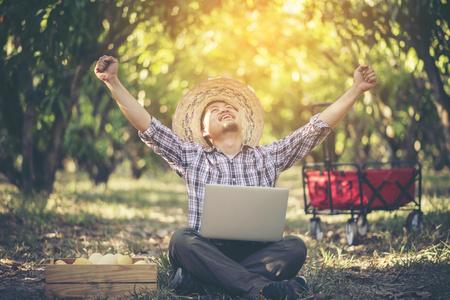 młody inteligentny rolnik pracujący z tabletem w sadzie mango, koncepcja działalności rolniczej Zdjęcie Seryjne