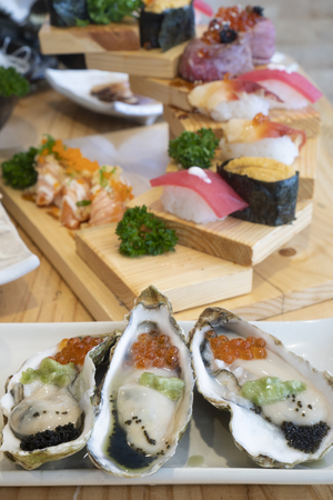 Sashimi, fresh seafood, Japanese food Фото со стока