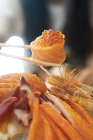 Salmon Sashimi, Japanese food Stock Photo