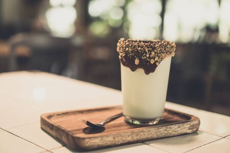Fresh milk and chocolate, coffee cafe Archivio Fotografico