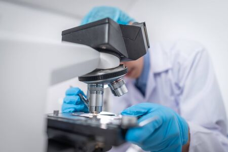 Using a microscope for research in the laboratory, Modern technology Stok Fotoğraf