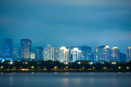 Shenzhen city skyline night scenery, China