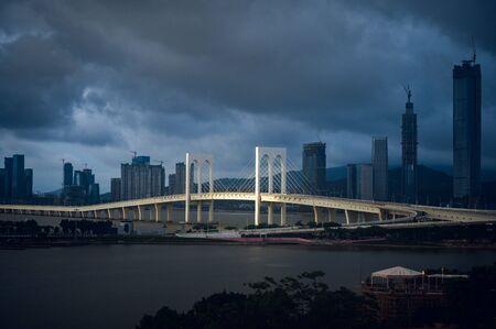 Sai Van Bridge in Macau at night Stock Photo