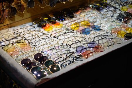 variety of fashion glasses stall Фото со стока