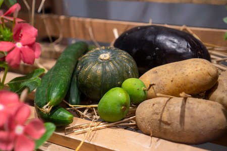Various kinds of tropical fruits are placed in various ways.