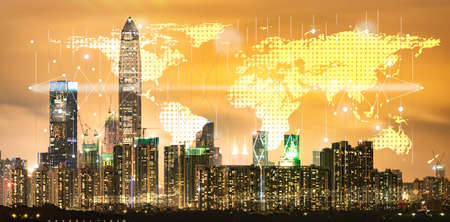 Shenzhen, China sunset scenery, skyline building city, concept of digital online worldwide business and urban city international connection market term