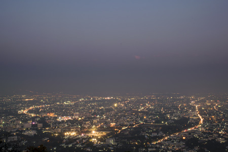 nightfall: Nightfall scene at Chiang Mai city in the northern of Thailand Stock Photo