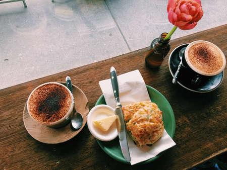 scones: Scones and coffee Stock Photo
