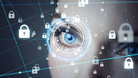 Biometrics concept. Cyber security. Encryption.
