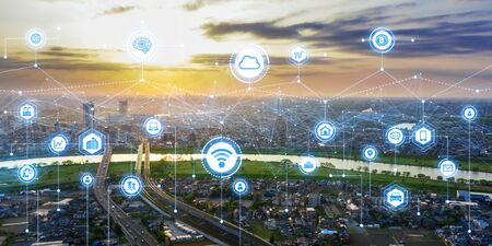Communication network concept. Smart city.