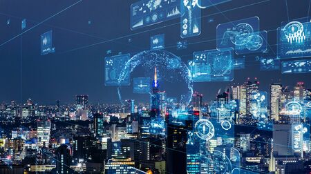 Smart City and Communication Network Concept. Graphical User Interface. Internet of Things (IoT).