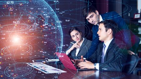 Global network of business concept. Group of businessperson in office.