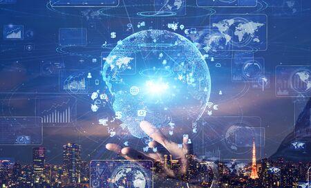 Global Communication network concept. Digital translationamtion. Graphical User Interface. Banco de Imagens