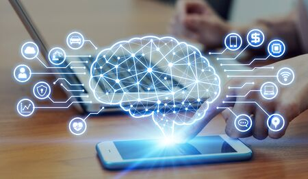AI (Artificial Intelligence) concept. Electronic circuit. Communication network. Banco de Imagens