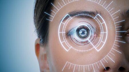 Iris authentication concept. Eye scanning. Smart contact lens.