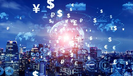 Financial technology concept. Fintech. Crypto currency. Electronic money. Casless payment. Modern Storytelly Theory.