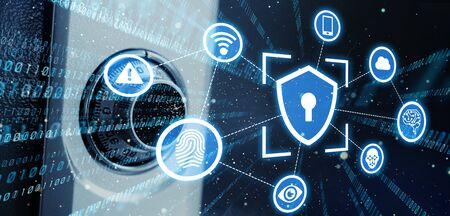 Cyber security concept. Encryption. Network security.