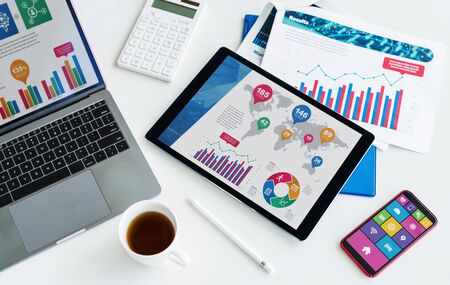 Business Instruments Concept. Corporate office. Data research. Stok Fotoğraf