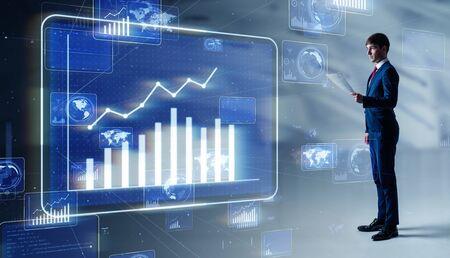 Businessman Looking at a chart. Financial planner. FIntech. Stok Fotoğraf