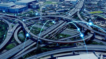 Modern transport and communication network concept.