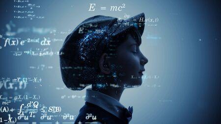 Science concept. School education. Equation. Theorem. Mathematics.