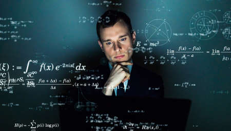 Science concept. Scientist. Equation. Theorem. Mathematics. Stock Photo