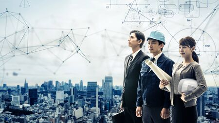 Construction technology concept. Group of construction occupation.