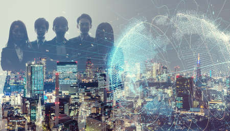 Global business concept. Multiple exposure of group of businessperson and modern cityscape. Reklamní fotografie
