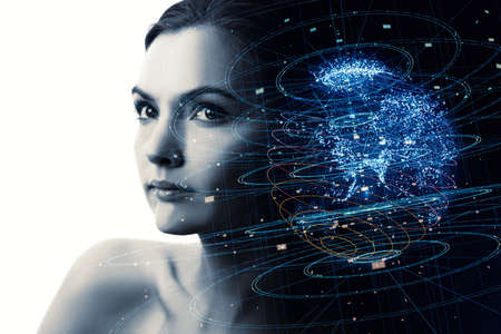 Portrait of beautiful woman and global communication network concept. AI(Artificial Intelligence). IoT(Internet of Things).