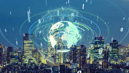 Communication network of urban city. Smart city. Internet of Things. IoT. Standard-Bild